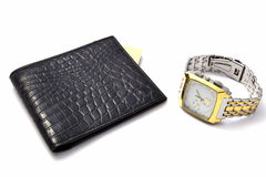 Black wallet and watch Royalty Free Stock Photos