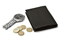 Black wallet,watch and coins Stock Image