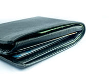 Black wallet on white background. Isolate Stock Image