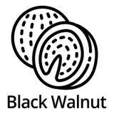 Black walnut icon, outline style. Black walnut icon. Outline black walnut vector icon for web design isolated on white background royalty free illustration