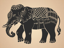 Black war elephant - Thai traditional art Design Vector Royalty Free Stock Images