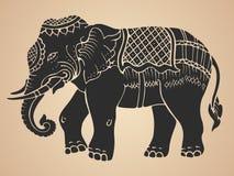 Black War Elephant - Thai Traditional Art Design Vector Royalty Free Stock Images
