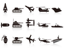 Black war weapon icons set. Isolated black war weapon icons set on white background Royalty Free Stock Photo
