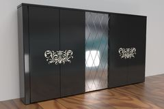 Black wardrobe with mirror. Black polished wardrobe with glass door stock illustration