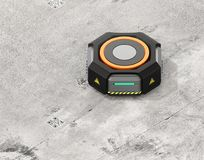 Black warehouse robot carrier on the concrete ground Royalty Free Stock Photography