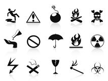 Black warning icons set Stock Image