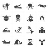 Black Warning Signs for dangers in sea, ocean, beach and rivers. Vector icon set 1 Royalty Free Stock Image