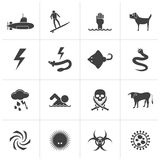 Black Warning Signs for dangers in sea, ocean, beach and rivers. Vector icon set 2 Royalty Free Stock Images