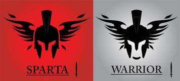 Black Warrior Head. Front view of winged warrior head combine with text and sword icon. isolated sparta helmet. Suitable for team identity, mascot, community royalty free stock photos