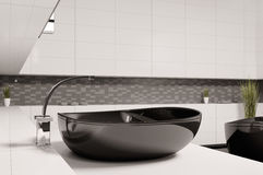 Black washbasin in bathroom 3d. Render Royalty Free Stock Photo