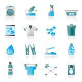 Black Washing machine and laundry icons Royalty Free Stock Photography