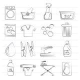Black Washing machine and laundry icons Stock Photo