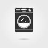 Black washing machine with shadow vector illustration