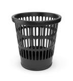 Black wastebasket. Black plastic empty wastebasket  on white background Royalty Free Stock Photo