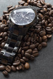 Black watch and coffee on black. Black watch and coffee  on black Royalty Free Stock Photos