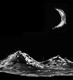 Black Water Mountains in Moonlight Stock Photo