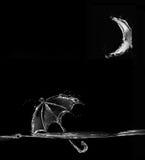 Black Water Umbrella Floating in Moonlight Stock Image