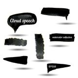Black watercolor grunge arrows collection Stock Images