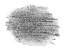 Black watercolor hand painted brush strokes isolated on white background, grunge paper texture Stock Photography