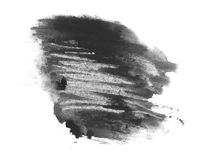 Black watercolor hand painted brush strokes isolated on white background, grunge paper texture Stock Photos