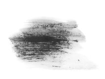 Black watercolor hand painted brush strokes isolated on white background, grunge paper texture Royalty Free Stock Photos