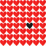 A black watercolor heart with a crowd of other watercolour red hearts on white background. A black heart with a crowd of other red hearts. Dark gray heart, drawn royalty free stock photo