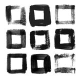 Black watercolor square frames. Squares painted with a brush by hand Royalty Free Stock Photo
