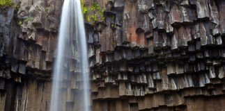 Black waterfall Svartifoss Iceland Stock Photos