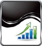 Black wave background with bar graph Stock Photo