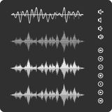 Black waves equalizer. Equalizer Vector Sound Waveforms. Musical pulse icons and buttons Royalty Free Stock Photography