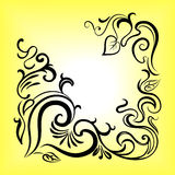 Black waves frame with hand drown branches. Vector design royalty free illustration