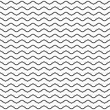Black Wavy Line Seamless Pattern Stock Image