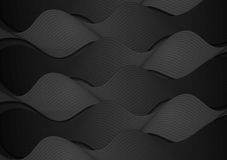 Black wavy pattern vector background Stock Image
