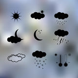 Black weather icons. On light sparkle background Royalty Free Stock Photography