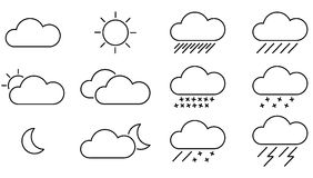 Black Weather Icons with White Background Royalty Free Stock Images