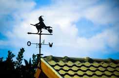 Black weathervane in the form of a witch Royalty Free Stock Images