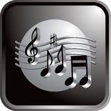 Black web button music notes Royalty Free Stock Photos