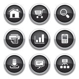 Black web buttons. Black shiny web butons for design Royalty Free Stock Photography