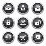 Black web buttons. Black shiny web buttons for design Royalty Free Stock Photo