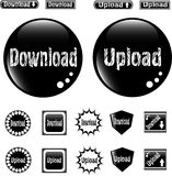 Black web glossy buttons download and upload sign Royalty Free Stock Photography