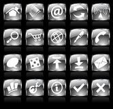 Black web icons. Black glossy web icons with metallic frames Stock Photography