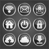Black web icons on a metallic background Stock Images