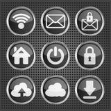 Black web icons on a metallic background. Set of black web icons on a metallic background Stock Images