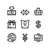 Black web icons, set 24. Vector icons set for internet, website, guides Royalty Free Stock Image