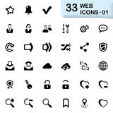 33 black web icons 01. This set contains 33 icons that can be used for designing and developing websites, apps, as well as printed materials and presentations Stock Photography