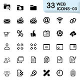 33 black web icons 03. This set contains 33 icons that can be used for designing and developing websites, apps, as well as printed materials and presentations Stock Images