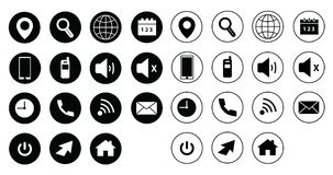 Colorful web icons, vector set. Black web icons and vector set for websites or web applications; location, search, clock, power, telephone, arrow, home, envelope Royalty Free Stock Photos