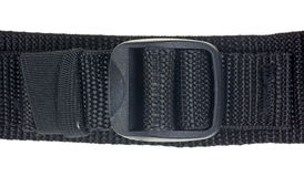 Black webbing with plastic tightener Royalty Free Stock Image