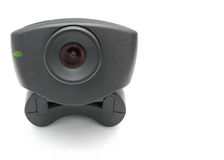 Black Webcam. A black USB Internet Webcam with red lens and green led light royalty free stock photo