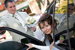 Black wedding car Stock Photos